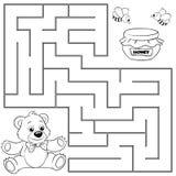 Percorso del ritrovamento dell'orso di aiuto a miele labirinto illustrazione vettoriale