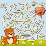 Percorso del ritrovamento dell'orso di aiuto a miele labirinto Gioco del labirinto per i bambini illustrazione di stock