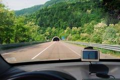 Percorso del sistema dei Gps in automobile Fotografie Stock