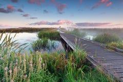 Percorso della bici di Woodem sull'acqua del lago ad alba Fotografia Stock Libera da Diritti