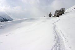 Percorso della montagna di inverno Fotografie Stock Libere da Diritti