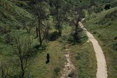 Percorso della sporcizia nei terreni boscosi di California fotografie stock libere da diritti
