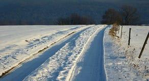 Percorso dello Snowy Fotografie Stock