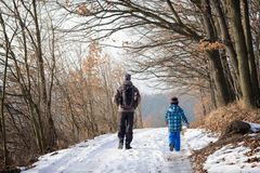 Percorso di camminata della natura di inverno del bambino e del padre immagini stock