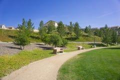 Percorso di camminata in parco suburbano Immagine Stock Libera da Diritti