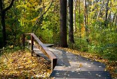Percorso di legno nella sosta di autunno Immagini Stock