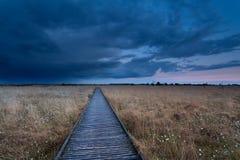Percorso di legno sulla palude alla tempesta durante il tramonto Immagini Stock