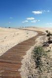Percorso di legno sulla sabbia Immagini Stock Libere da Diritti