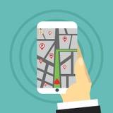 Percorso di navigazione La mano tiene lo smartphone Immagine Stock