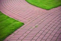 Percorso di pietra del giardino con erba, marciapiede del mattone Fotografia Stock Libera da Diritti