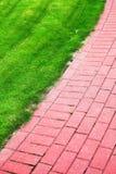 Percorso di pietra del giardino con erba, marciapiede del mattone Immagini Stock Libere da Diritti