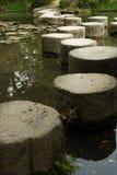 Percorso di pietra di zen in un pone vicino al santuario di Heian Fotografia Stock Libera da Diritti