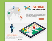 Percorso globale La navigazione mobile isometrica piana di 3d GPS traccia il vettore Perno della siluetta del mondo Riduca in pan Fotografia Stock