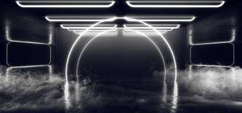 Percorso moderno futuristico scuro di Hall Reflective Neon Glowing Sci Fi di lerciume del vapore della nebbia dell'arco del fumo  illustrazione di stock