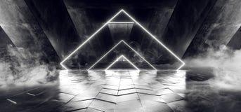 Percorso moderno futuristico scuro di Hall Reflective Neon Glowing Sci Fi di lerciume del vapore della nebbia del triangolo del f illustrazione di stock