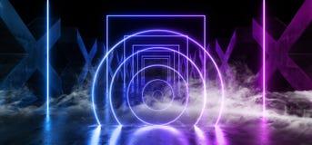 Percorso moderno futuristico scuro di Hall Reflective Neon Glowing Sci Fi di lerciume della nebbia del fumo delle colonne X del c royalty illustrazione gratis