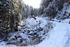 Percorso nevoso invernale con gli alberi e piccolo fiume in montagne delle alpi di Stubai Immagini Stock