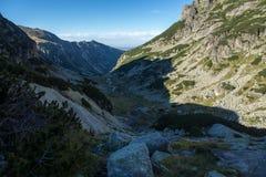 Percorso per la scalata del picco di malyovitsa, montagna di Rila Fotografia Stock Libera da Diritti