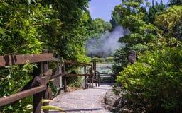 Percorso piacevole, con vegetazione ed il giardino verdi Nei precedenti le sorgenti di acqua calda geotermiche famose, hanno chia fotografie stock libere da diritti