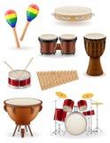 Percussie muzikale instrumenten geplaatst pictogrammenvoorraad vectorillustrati royalty-vrije illustratie