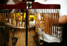 Percussion. The drummer plays alive music on percussion stock photo