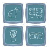 Percussion Drum Instrument Icons Stock Photos