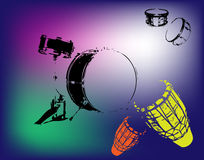 Percussion and drums. Abstract colored background with percussion and colored drums Royalty Free Stock Image