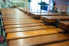 Xylophone, marimba or mallet player with sticks,. Percussion instrument during a concert or performance with brown wooden planks Stock Image