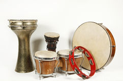 Percussion instruments. Percussion instrument against a white background royalty free stock photography