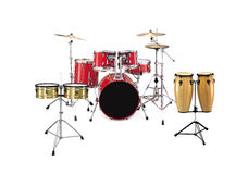 Percussion Instruments. Isolated on white background - Drums, Timbales and Congas Stock Photo