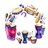 Percussion instruments. Circle filled with hand drawn doodles of ethnic drums on a white background. Music design frame.