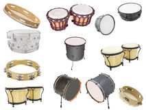 Percussion instruments. Different kinds of percussion instruments isolated under the white background royalty free stock photos