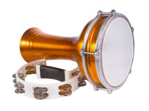 Percussion instruments isolated on white background. Darbuka and tambourine isolated on white background Royalty Free Stock Photo