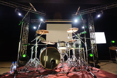 Percussion instruments on scene Royalty Free Stock Photos