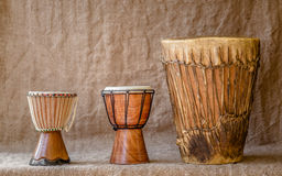Percussion instruments. Three african hamdmade percussion instruments Royalty Free Stock Images
