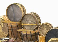 Percussion instruments typical of the Canary Islands. On a white background Royalty Free Stock Images