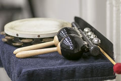 Percussion instuments ready for action when needed Royalty Free Stock Images