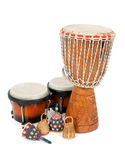 Percussion music instruments. Djembe drum, bongos and caxixi shakers Stock Photos
