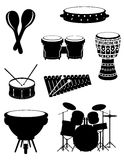 Percussion musical instruments set icons stock vector illustrati Stock Image