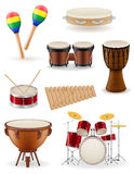 Percussion musical instruments set icons stock vector illustrati. On  on white background Stock Image