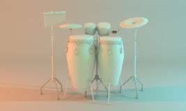 A percussion set with congas, cymbals, bongos and cowbell. Stock Photos