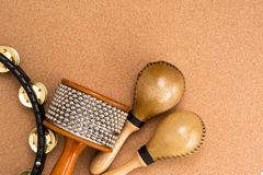 Percussion set. Image of percussion set on cork background Royalty Free Stock Images