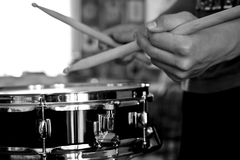 Percussionist hands drumming on snare Royalty Free Stock Images