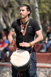 Percussionist performing outdoors Royalty Free Stock Photo