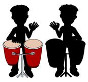 Percussionist playing congas silhouettes Royalty Free Stock Photos