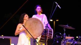 Percussionist Tambourine Player Burcu Yankin stock videobeelden