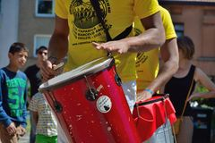 Percussionists in close up at festival Royalty Free Stock Photos