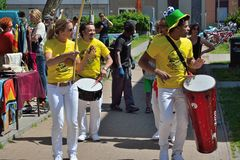 Percussionists in close up at festival Royalty Free Stock Photo