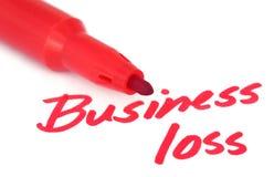 Perda de negócio escrita por uma pena vermelha do sinal imagem de stock