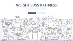 Perda de peso & conceito da garatuja da aptidão ilustração do vetor
